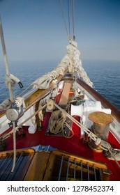 Aboard SV Maple Leaf, Gulf Islands, British Columbia, Canada.