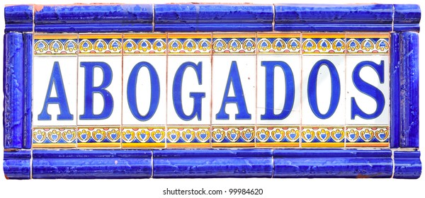 Abogados or lawyers tiled sign