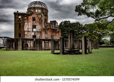 A-Bomb Dome (Genbaku Dome) - Hiroshima Peace Memorial Park, Japan. Riuned building survived the nuclear explosion during the World War II
