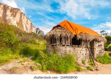 Abondoned shelter of Pemon indians, presently it's  a camping place - Roraima Base Camp - on the route to Roraima summit, La Gran Sabana, Canaima National Park, Venezuela