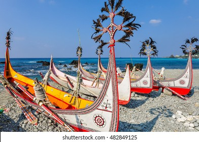 Aboriginal Canoe with Beautiful Feather Decoration on the Beach of Lanyu During Flying Fish Festival at Taitung, Taiwan