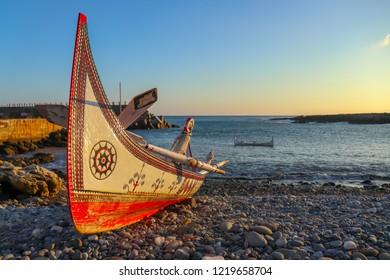 Aboriginal Fishing Boat on Orchid Island, Taiwan.
