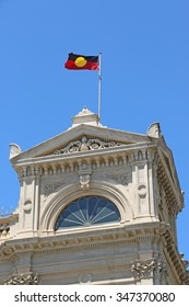 The Aboriginal flag being flown atop a town hall building