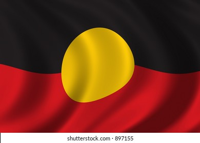 Aboriginal flag waving in the wind