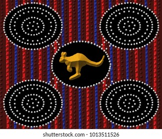 Aboriginal Kangaroo dot painting in rich earth tones