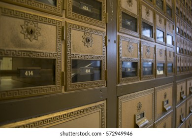 About 45 degree view of Post Office Boxes.