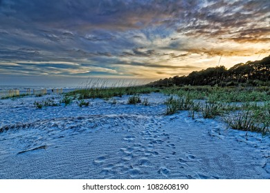 About twenty minutes before sunset, the blue cast of dusk envelopes South Forest Beach on the south end of Hilton Head Island