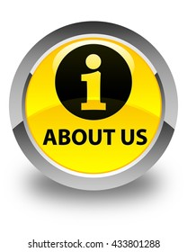 About us glossy yellow round button