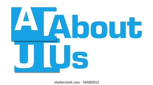 About Us text written over blue background.