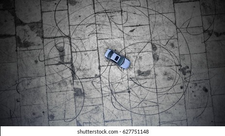 above Car with Skid Marks