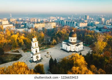 Above Chisinau at sunset. Chisinau is the capital city of Republic of Moldova