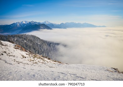 Above the cloud inversion on Swansea Mountain, facing east to the Rocky Mountains, British Columbia, Canada