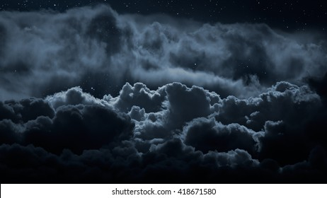 Above the clouds at night with stars