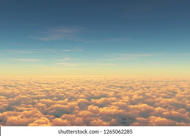 Above clouds, view from pilot cabine in airplane. Aerial view above clouds during the sunrise or sunset. Blue sky, white clouds with magic and soft sun light