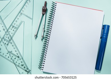 Blueprint paper blank stock photos images photography shutterstock from above different supplies for blueprinting and blank notepad malvernweather Image collections