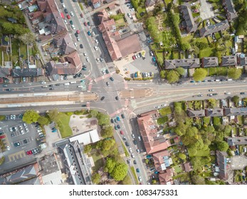 Above Drone View Of Intersection Junction Manchester England Cars And Houses Residential