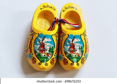 From above Dutch holland clogs with windmills and pattern