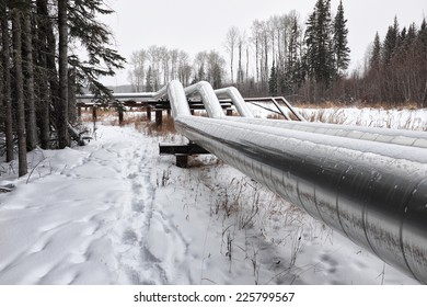 An above ground oi or gas pipeline in winter