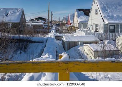 Above ground utilities in permafrost at Inuvik