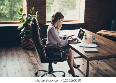 Above high angle profile side view of nice lovely elegant classy attractive charming focused wavy-haired lady creating visual selling presentation at workplace station