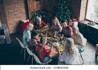 Above high angle view of noel evening family gathering. Cheerful grey-haired grandparents, brother, sister, son, daughter at house feast party, sitting at homemade lunch table, talking, fir tree