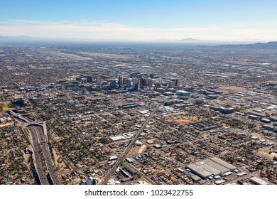 Above Interstate 10 looking to the southeast at downtown Phoenix, Arizona