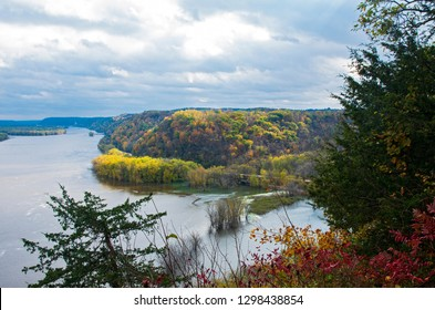 above mississippi river and woodlands during autumn from effigy mounds national monument in iowa
