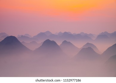 From above, the mountains in the mist are beautiful at dawn