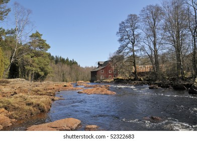 Above the Rapid in Knaered Halland Sweden, with the abandoned Mill.