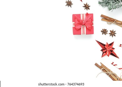 Above view aerial image of decoration & ornament merry Christmas & Happy new year background concept.Table top essential accessories on white wood at home office desk.free space for creative design.