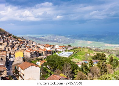 above view of Aidone comune in Sicily in spring, Italy