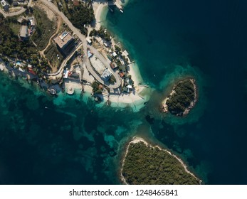 above view of Albanian beaches of ksamil, Albania (Albanian Riviera)