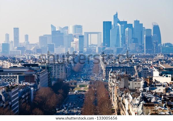 above view of Avenue de la Grande Armee in Paris and la Defense district