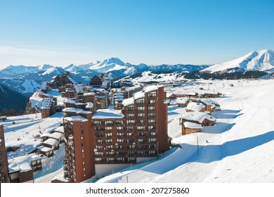 above view of Avoriaz town in Alps, Portes du Soleil region, France