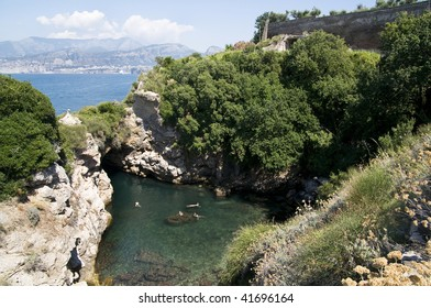 Above view of a bay with crystal clear waters in Amalfi, Italy