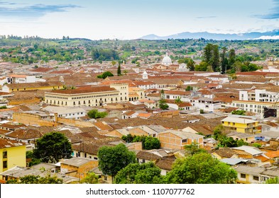 Above view of the city of Popayan located in the center of the department of Cauca. It's called the White City because most of the houses are painted white