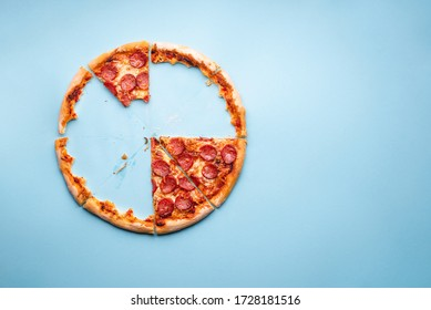 Above view with a delicious homemade pepperoni pizza. Home-baked pizza crust on a blue background top view. Pizza leftovers.