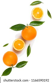 Above view of сitrus fruits - oranges with leaves isolated on white background.