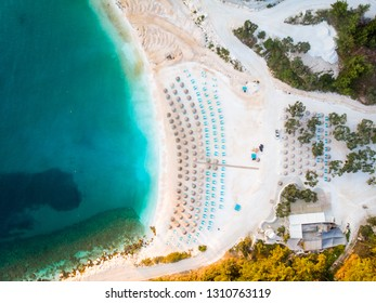 Above view of marble beach Porto Vathy in Thasos, Greece