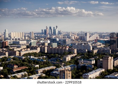 Above view of Moscow cityscape at sunset