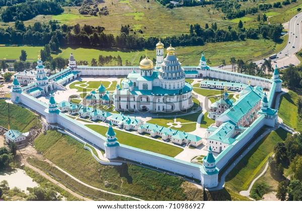 above view of New Jerusalem (Novoiyerusalimsky, Voskresensky Resurrection) Monastery in Moscow Oblast in summer day