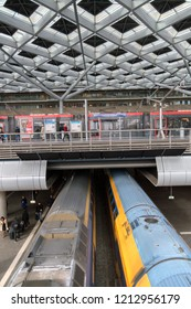 Above View Of A NS Train And The Tram Stop AT Central Station Den Haag The Netherlands 2018