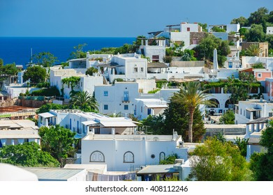An above view of Panarea island with typical white houses, Aeolian islands, Sicily, Italy.