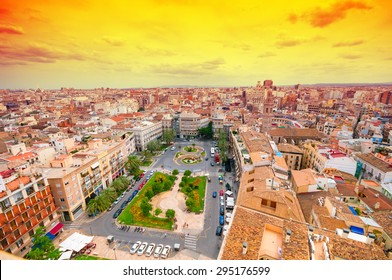 Above view of Plaza de la Reina. Valencia, Spain