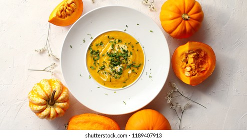From above view of pumpkin soup sprinkled with herb in white plate surrounded by little pumpkins on white background