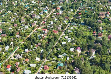 above view of suburb village in Moscow Oblast near Zelenkovo village of Istrinsky district