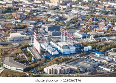 above view of thermal power plant in Moscow city from observation deck at the top of tower in autumn