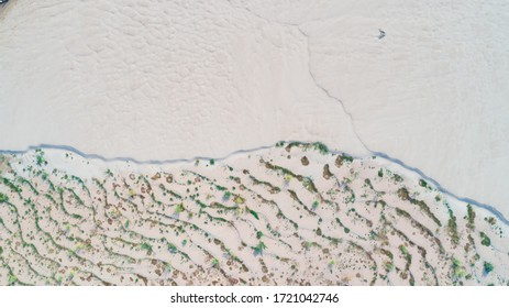 a above view of white sand island at Mekong river.