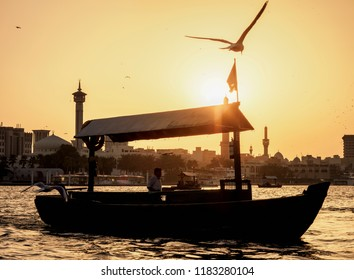 Abra Boat on Dubai Creek at sunset, Dubai, United Arab Emirates