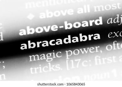 abracadabra word in a dictionary. abracadabra concept.